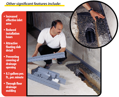 ... water at an elevation below the floor and foundation so the basement does not become submersed in water and hydrostatic pressure is reduced. & Hollow Kick Molding